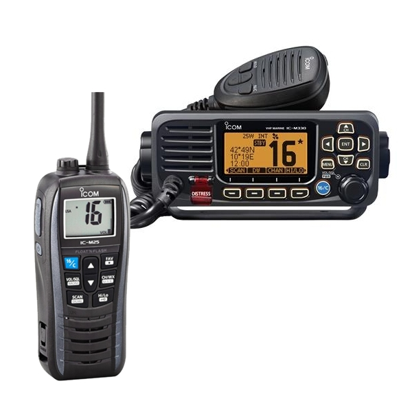 Icom M330GE Fixed VHF and M25 Handheld VHF Bundle Offer