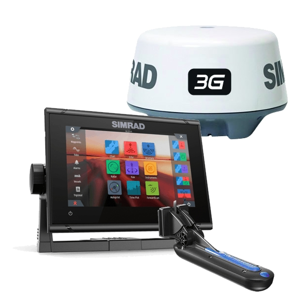 Simrad GO7 XSR 7-inch Chartplotter With 3G Radar Transom Totalscan Transducer and Navionics + Cartography