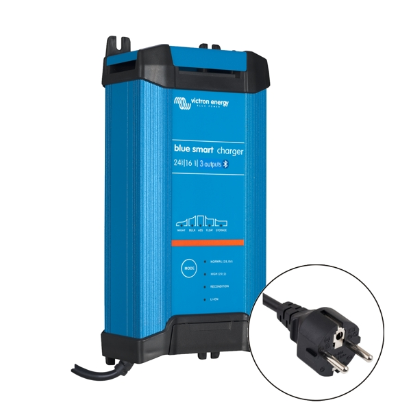 Victron Blue Smart IP22 Charger 24v/16a (3 outputs) Euro Plug